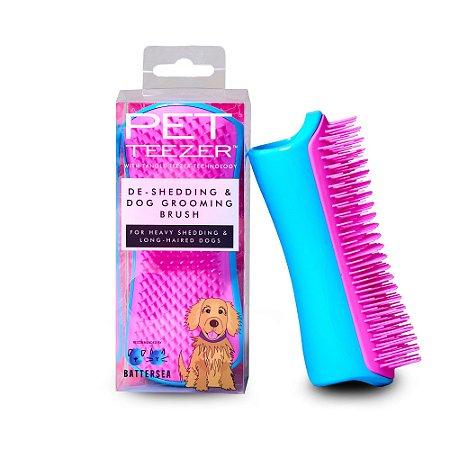 Escova Pet Teezer De-Shedding Blue Pink - Tangle Teezer