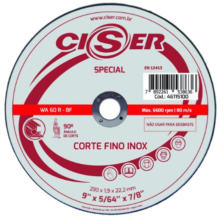DISCO CORTE INOX CISER SPECIAL 180(7)X1,9X22,2