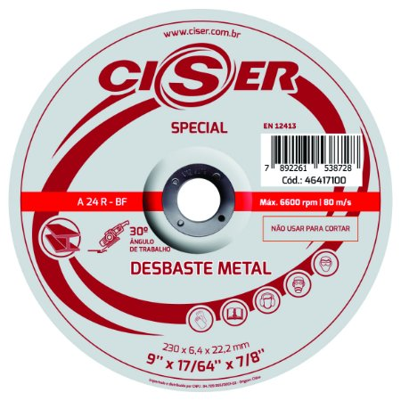 DISCO DESBASTE ACO CISER SPECIAL 180(7)X6,4X22,2