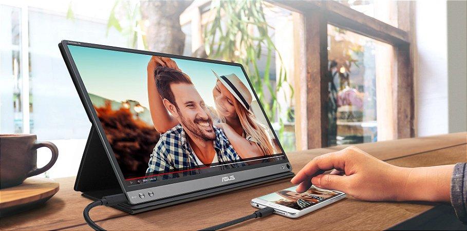 "Monitor Portátil Asus 15.6"", Usb 3.0, Ultra Leve, Ultra Fino - MB168B"