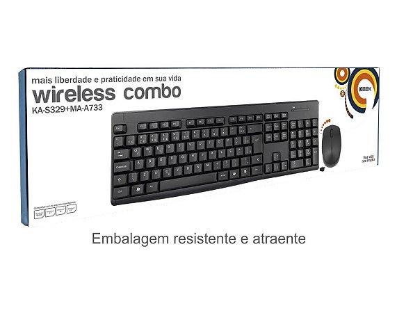 Combo Teclado E Mouse S/fio K-mex Ka-s229 + Ma-a733 (preto)