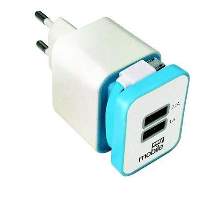 CARREGADOR SMART 2,1 USB AZUL