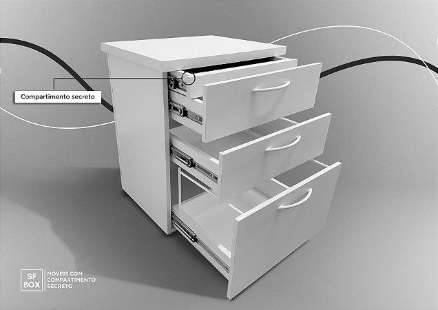 Gaveteiro em MDF com Compartimento Secreto Branco SFBOX