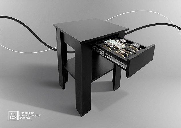 Mesa de Canto com Compartimento Secreto em MDF Preto SFBOX
