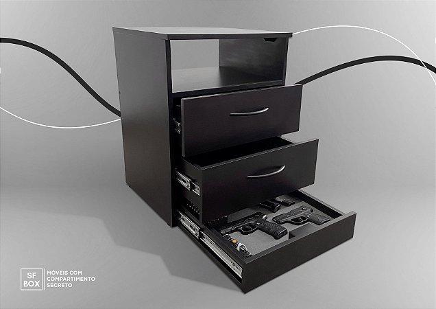 Criado Mudo em MDF com Compartimento Secreto Preto SFBOX