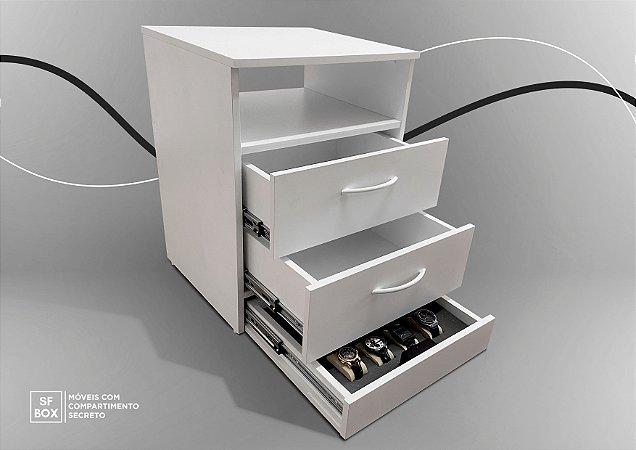 Criado Mudo em MDF com Compartimento Secreto Branco SFBOX