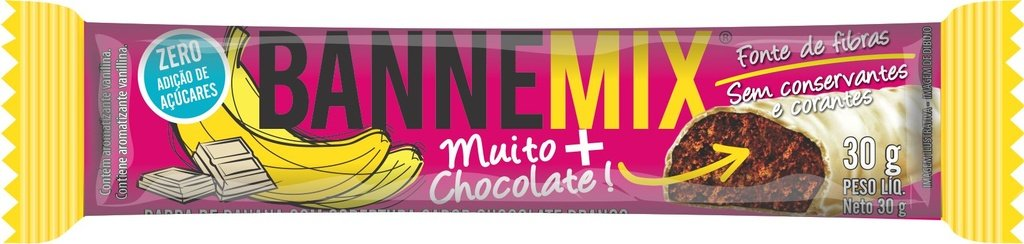 Bannemix - Barra de Banana cobertura Chocolate Branco 24un