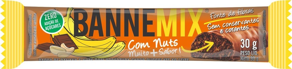Bannemix - Barra de Banana e Nuts  Cobertura  Chocolate 24un