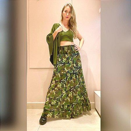 Saia Camuflada em Tule Verde