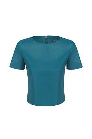 Camiseta Cropped Azul Petróleo