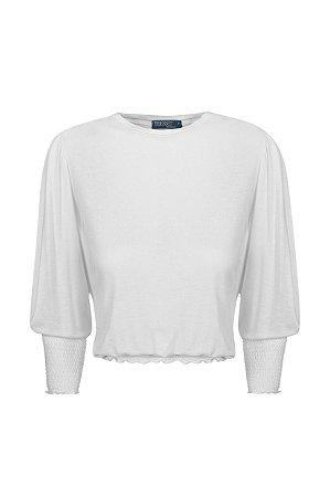 Blusa Lastex Malha Off White