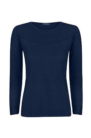 Blusa Recortes Canelado Azul Marinho