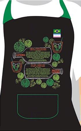 4- Kit Avental Receita da Caipirinha + Socador - Português e Inglês