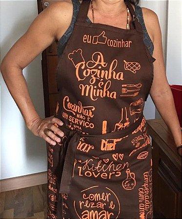 3- Kit Avental A Cozinha é Minha + Bandana em Malha