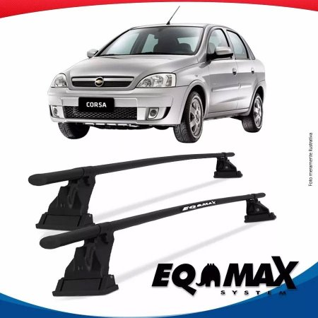Rack Aço Teto Eqmax Corsa Premium Sedan 02/12 Fixação Friso