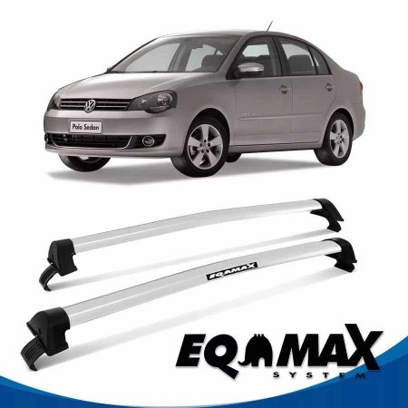 Rack Teto Eqmax New Wave Vw Polo 03/14 4pts Sedan Prata