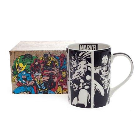 Caneca Marvel Heróis – Preta&Branca