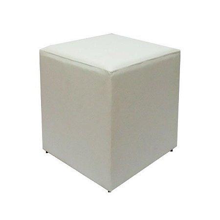 PUFF EM CORINO GRANDE 40x40x42cm.  (Branco)