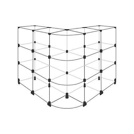 """Balcão de Vidro em """"L"""", com 15 Vãos 30x30cm"""