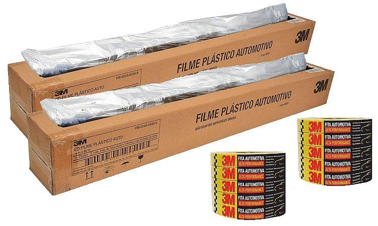 2 Filmes Plásticos Pintáveis 4X80 + 10 Fitas Crepes 18mmx40