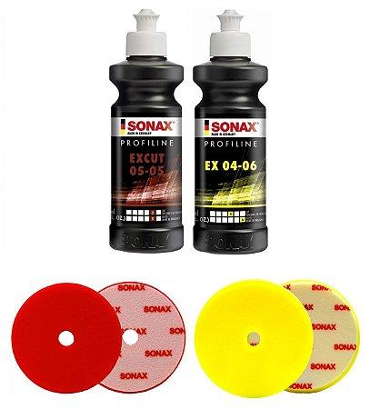 """Kit Sonax - ExCut 05-05/ EX 04-06 250ml + boinas Corte e Refino 5,5"""""""