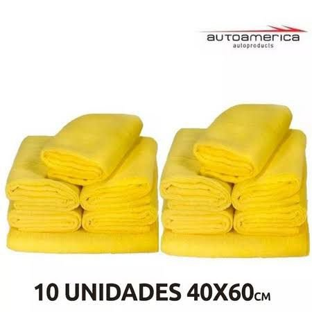 kit Flanela De Microfibra Autoamerica Premium 60x40 ( sem embalagem) 10 unid.