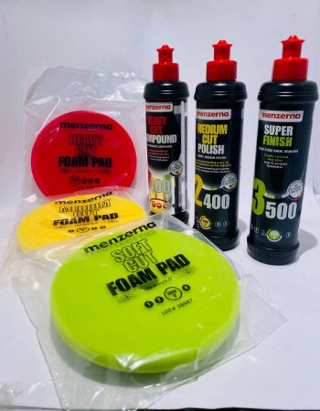Kit Menzerna 400+2400+3500+ boinas corte 5 refino e lustro