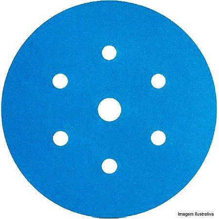 Kit 10 DISCOS ABRASIVO HOOKIT BLUE 321U COM 7 FUROS - 80 –3M
