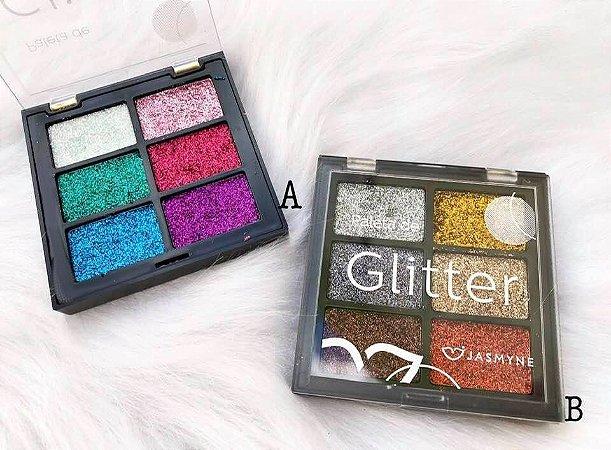Paleta de Glitter Jasmyne 6 Cores - 2 opções de cores