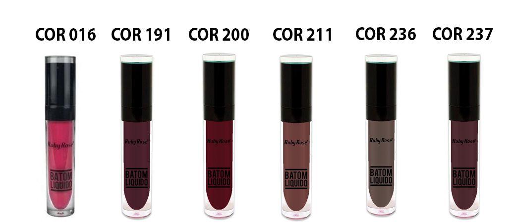 Batom Liquido Ruby Rose HB-8213 - 6 Cores de opções