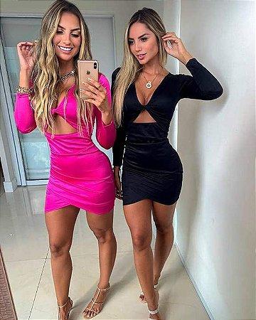 Vestido Recorte Frontal Pink