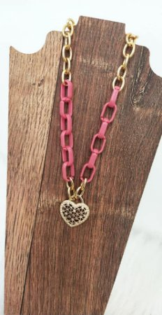 Colar Curto Pink Sweet Heart