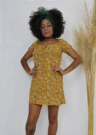 Vestido Floral mostarda