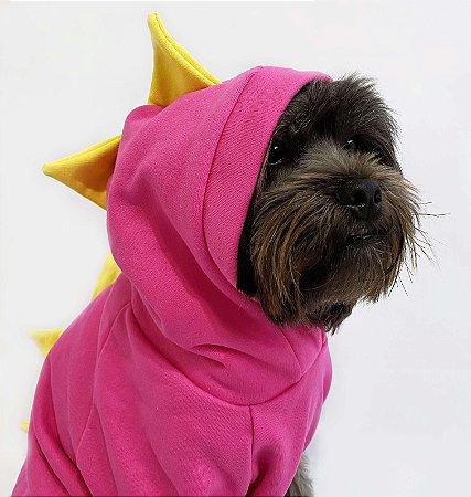 Moletom para Cachorros Dinossauro Rosa com Amarelo