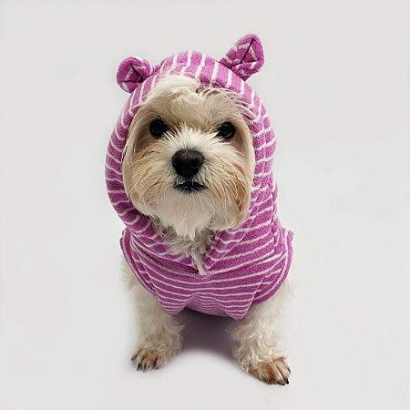 Moletom para Cachorros Ursinho Lilás Listrado
