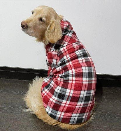 Moletom Gola Alta para Cachorros Xadrez Vermelho