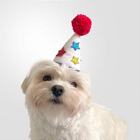 Fantasia para Cachorros e Gatos Chapéu de Aniversário Colorido