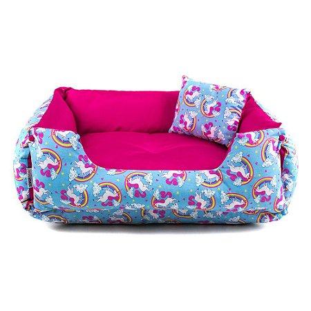 Cama Dupla Face para Cachorros Lola Unicórnio Azul e Pink