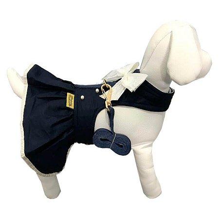 Vestido para Cachorros   Charming Marinho com Guia