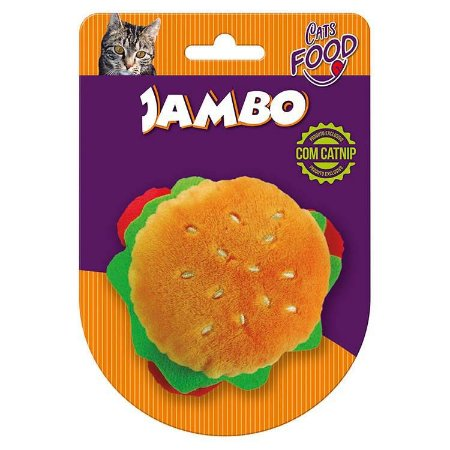 Brinquedo para Gatos Pelúcia Food Cat Hambúrguer com Catnip