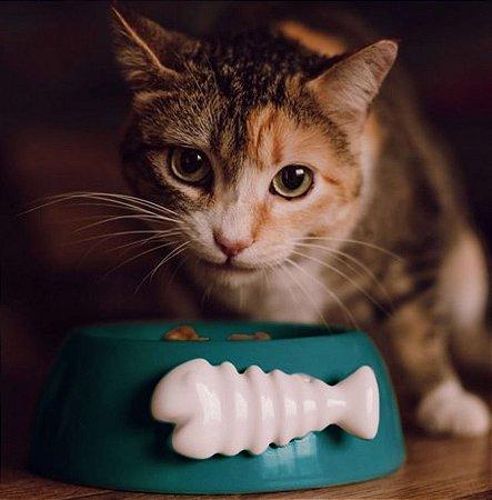 Comedouro para Gatos | Cerâmica Espinha de Peixe Verde