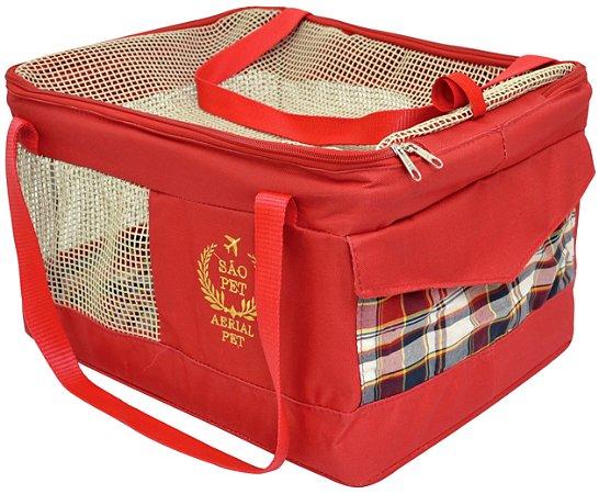 Bolsa de Transporte Aéreo para Cachorros e Gatos | Companhia AZUL | Cor Vermelha