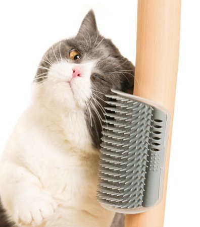 Auto Escovamento com Catnip para Gatos Cinza