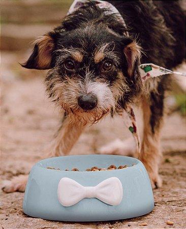 Comedouro para Cachorros Cerâmica Azul com Laço