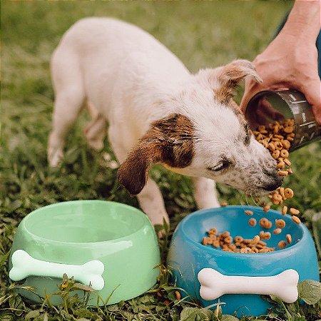 Comedouro para Cachorros | Cerâmica Verde com Osso