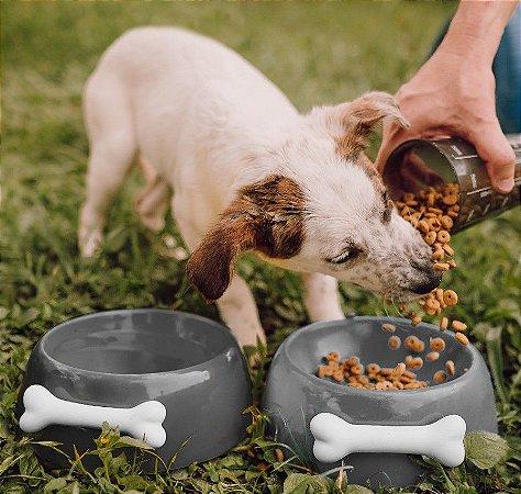 Comedouro para Cachorros | Cerâmica Cinza com Osso