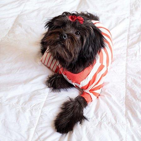Pijama para Cachorros e Gatos   Listrado Laranja