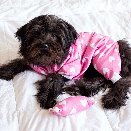 Pijama para Cachorros Rosa com Corações
