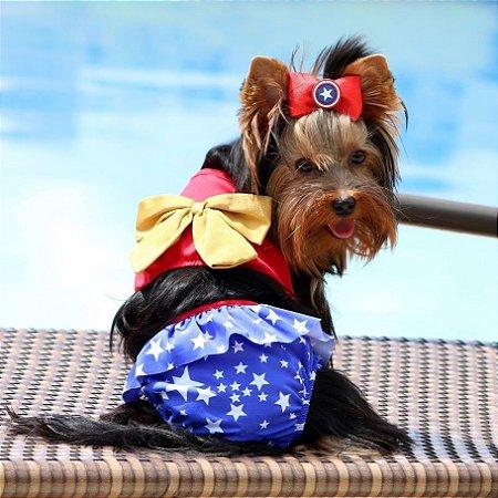 Biquíni para Cachorros Vermelho com Estrelas