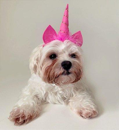 Fantasia para Cachorros e Gatos Tiara Unicórnio Rosa